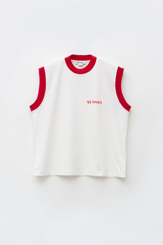 WHITE & RED TANK TOP WITH LOGO