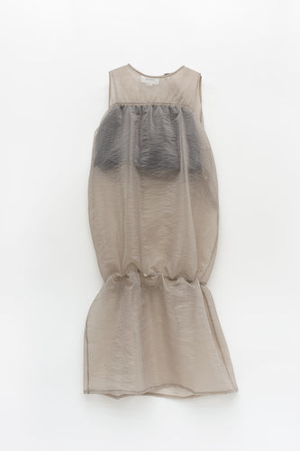 IVORY SEE-THROUGH ELASTIC DRESS