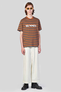 BROWN STRIPES T-SHIRT WITH LOGO