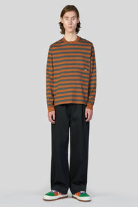 BROWN STRIPED LONG SLEEVE T-SHIRT