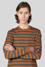 Load image into Gallery viewer, BROWN STRIPED LONG SLEEVE T-SHIRT