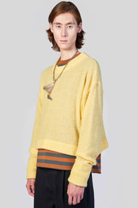 YELLOW KNIT SHORT SWEATER
