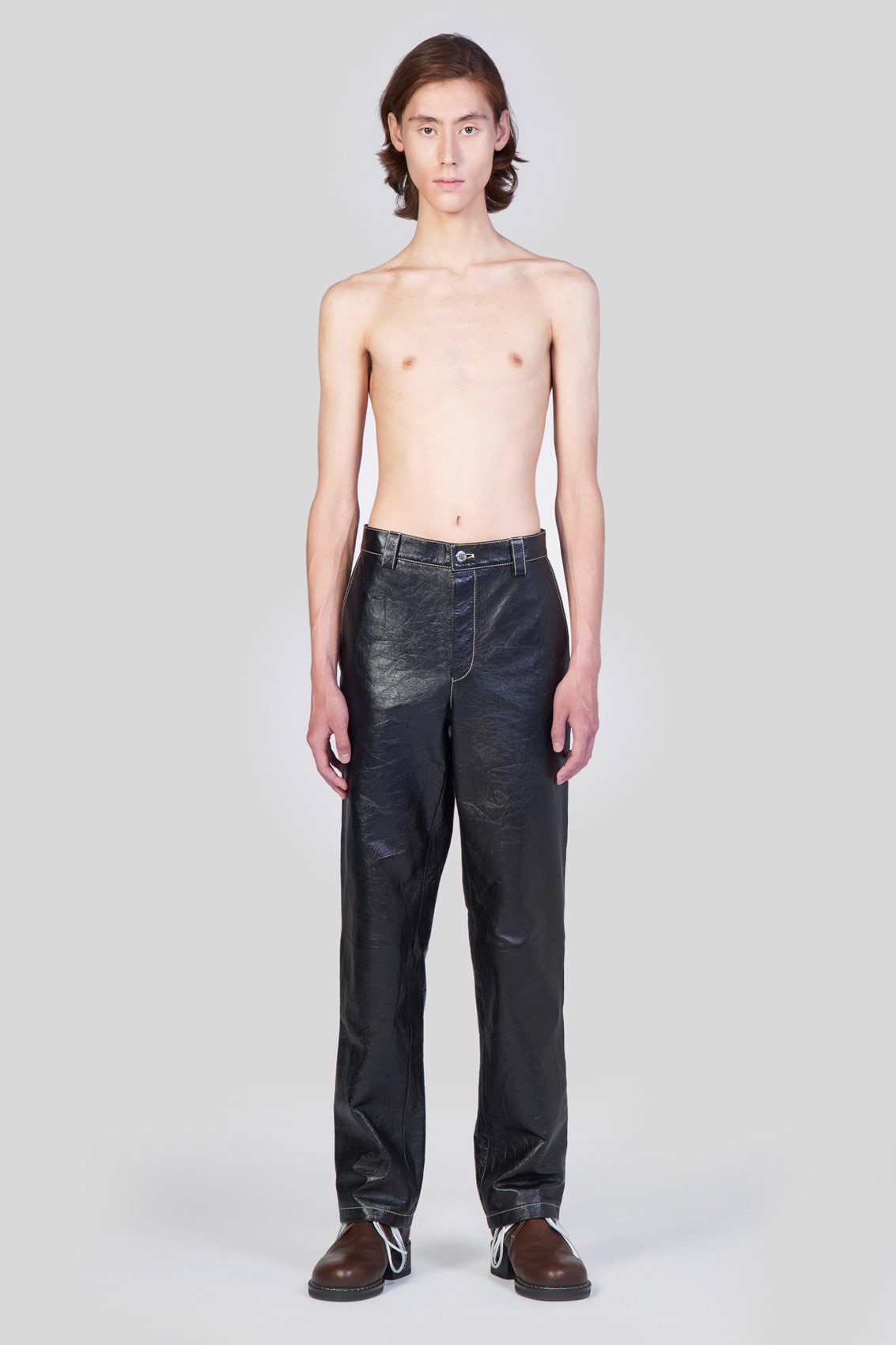 LEATHER STRAIGHT PANTS
