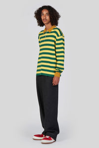 GREEN & YELLOW ZIPPED KNIT POLO
