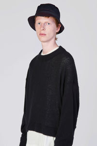BLACK KNIT SHORT SWEATER