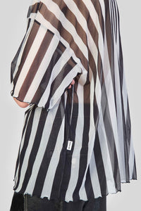 STRIPED OVER MESH T-SHIRT