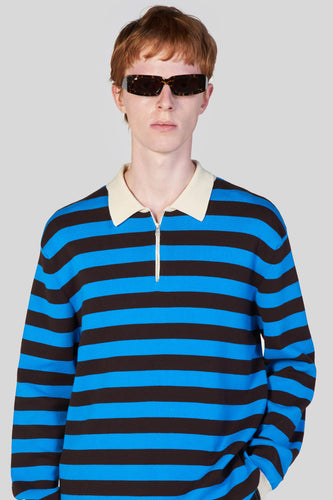 AZURE & BROWN ZIPPED KNIT POLO