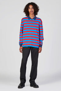 RED & BLUE ZIPPED KNIT POLO