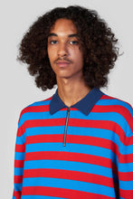 Load image into Gallery viewer, RED & BLUE ZIPPED KNIT POLO