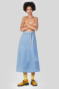 WASHED DENIM PANTA SKIRT