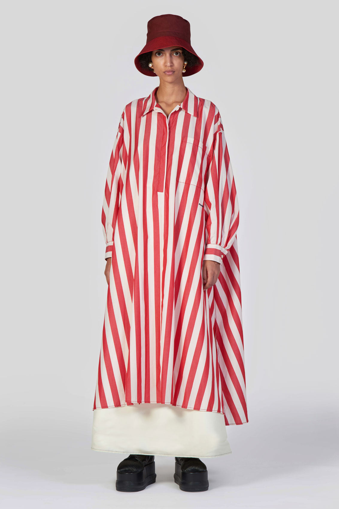 RED STRIPES SHIRT DRESS