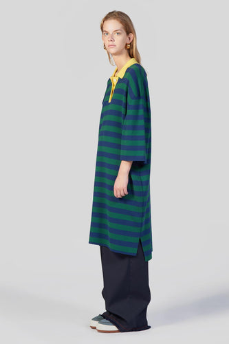 DARK BLUE & GREEN KNIT POLO DRESS
