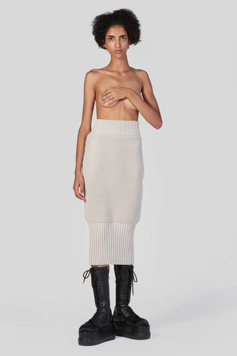 BEIGE KNIT POPCORN SKIRT