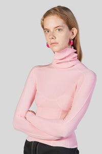 PINK KNIT HIGH NECK TOP