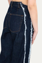 Load image into Gallery viewer, DENIM CLASSIC PANTS WITH FRINGED BANDS