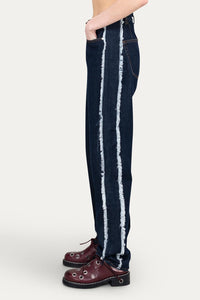 DENIM CLASSIC PANTS WITH FRINGED BANDS