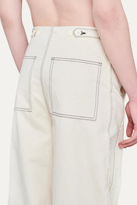 OFF WHITE RAW CANVAS PANTS WITH FRINGED BANDS