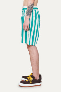 OFF WHITE & MINT STRIPED SHORTS