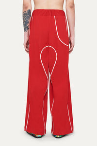 RED PANTS WITH WHITE PIPING