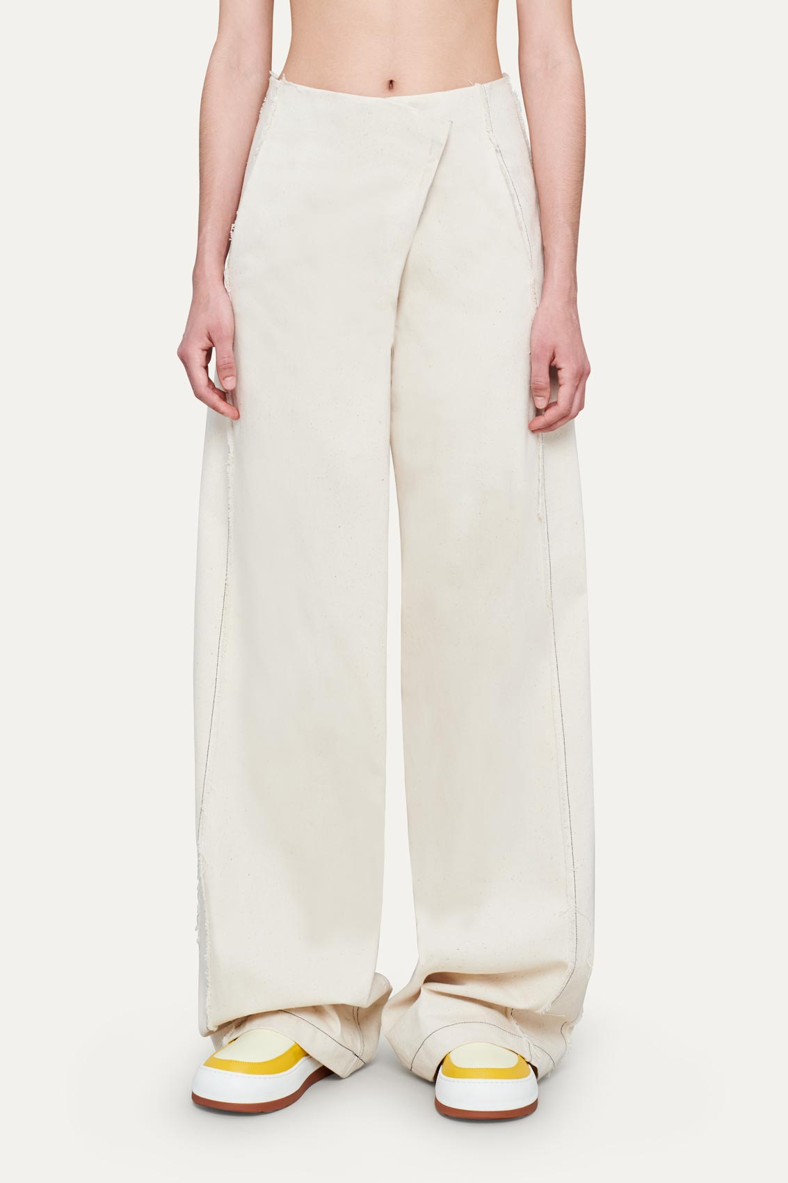 OFF WHITE STRETCH WIDE PANTS