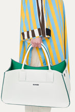 Load image into Gallery viewer, WHITE & GREEN GROCERY BAG