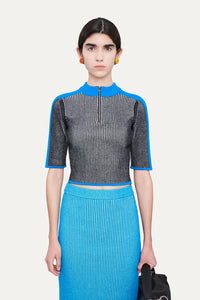 BLACK AND AZURE KNIT TOP