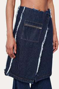 WASHED DENIM WRAP SKIRT