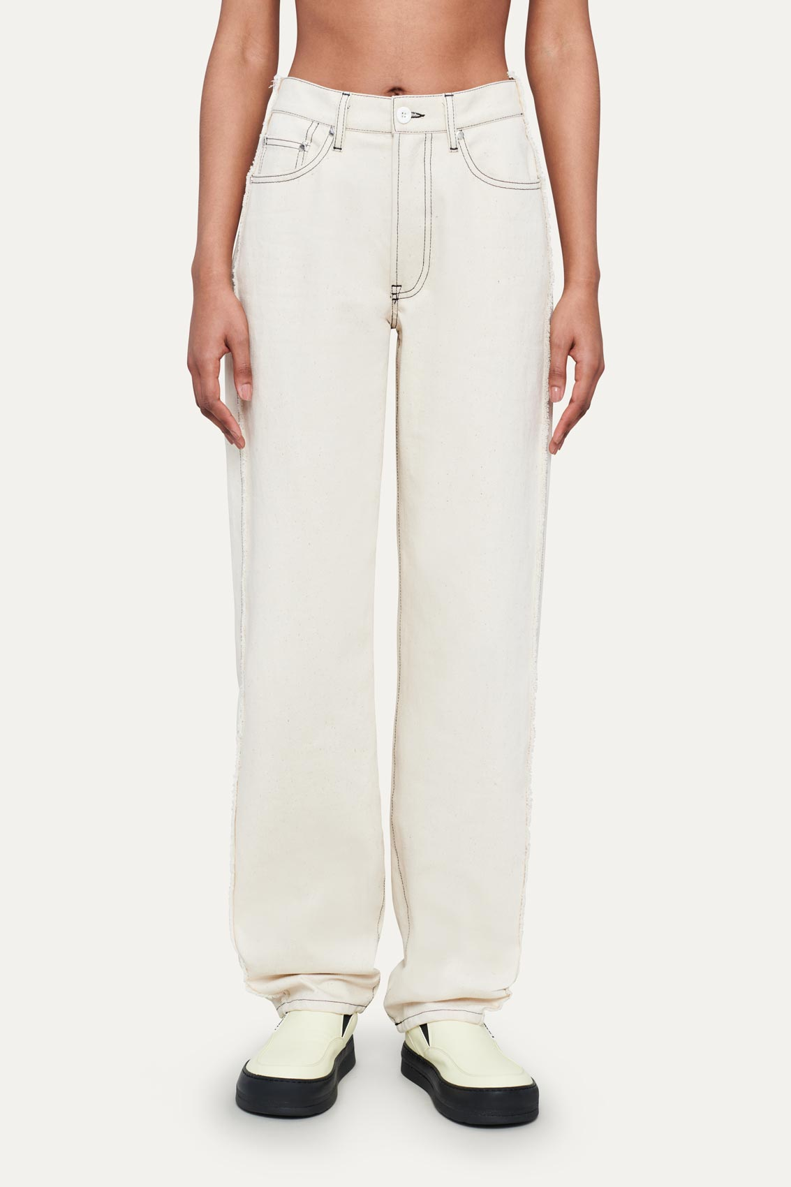 OFF WHITE CLASSIC PANTS WITH FRINGED BANDS