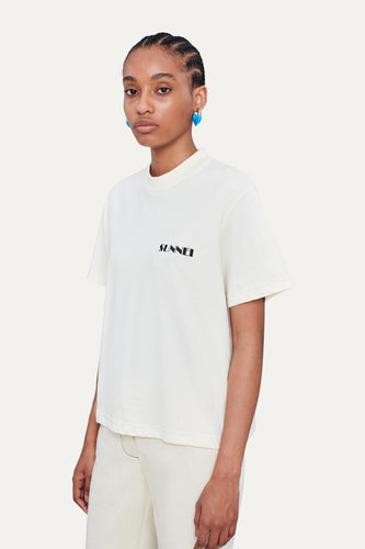RIBBED OFF WHITE T-SHIRT WITH LOGO