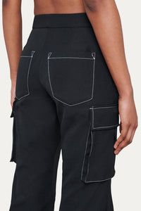 BLACK CARGO LOOSE FIT PANTS