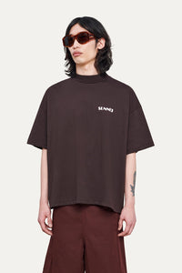 BROWN OVER T-SHIRT WITH LOGO