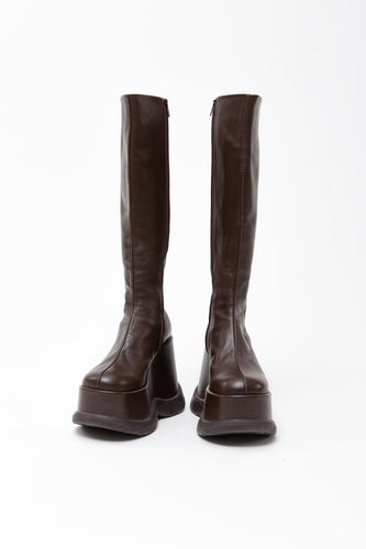 DARK BROWN PLATFORM BOOTS