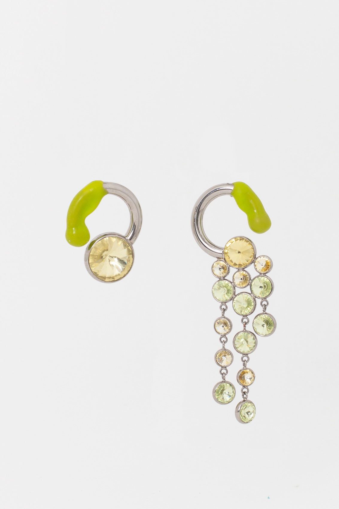 SILVER EARRINGS WITH GREEN & YELLOW DETAILS