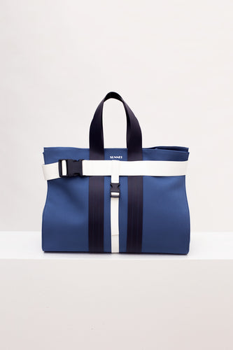 BLUE & WHITE MESSENGER BAG