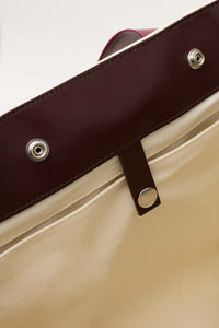 CREAM & BORDEAUX PARALLELEPIPEDO BAG