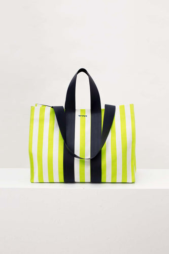 STRIPED PARALLELEPIPEDO BAG
