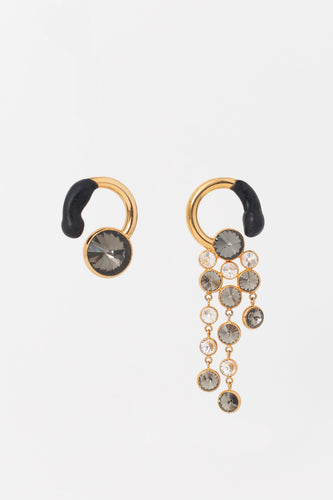 GOLD EARRINGS WITH BLACK & GREY DETAILS