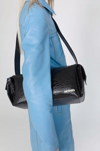 BLACK CROCO-EMBOSSED LEATHER LABAULETTO BAG