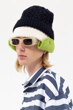 Load image into Gallery viewer, DARK BLUE & GREEN KNIT BEANIE