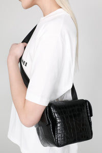 BLACK CROCO-EMBOSSED LEATHER LACUBETTO BAG