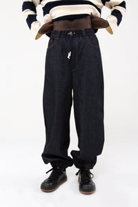 DARK DENIM ELASTIC PANTS