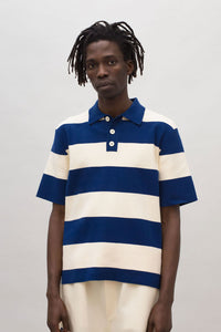 WHITE & BLUE KNIT POLO