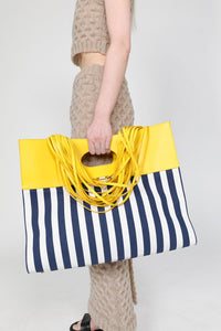 STRIPED LACE BAG WITH YELLOW DETAILS