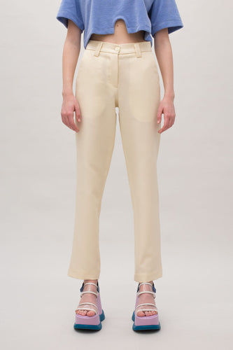 CREAM STRAIGHT PANTS