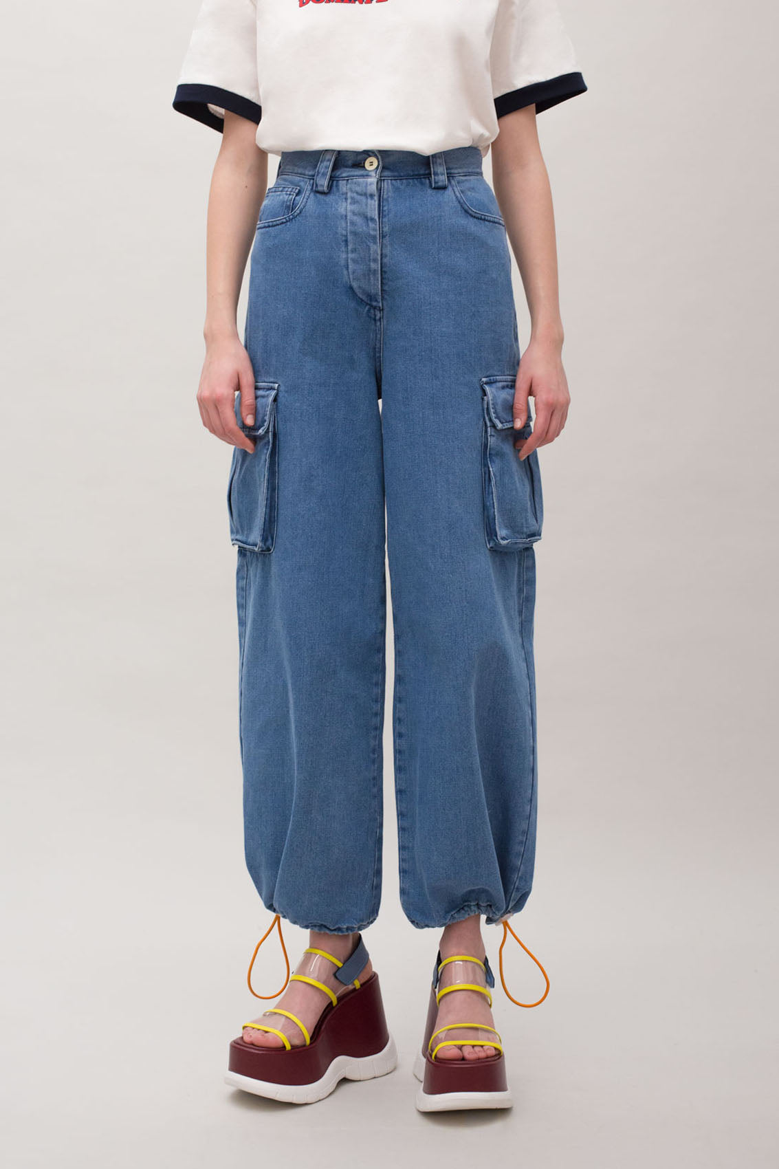 WASHED DENIM CARGO PANTS