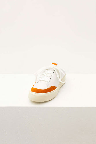 WHITE & ORANGE SABOT SNEAKERS