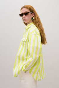 WHITE & ACID GREEN STRIPED OVER SHIRT