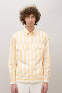 PEACH STRIPED BOXY SHIRT