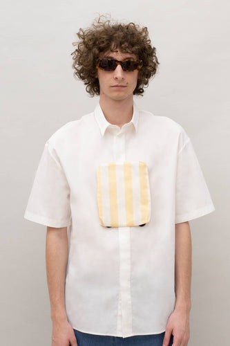 WHITE POCKET PANEL SHIRT