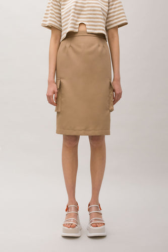 LIGHT BROWN CARGO SKIRT